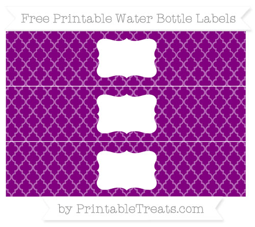 Free Purple Moroccan Tile Water Bottle Labels