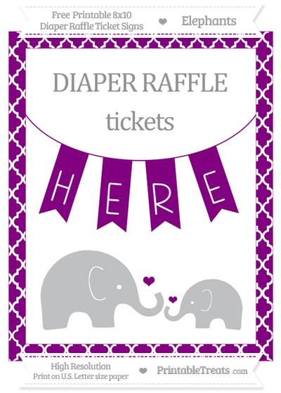 Free Purple Moroccan Tile Elephant 8x10 Diaper Raffle Ticket Sign