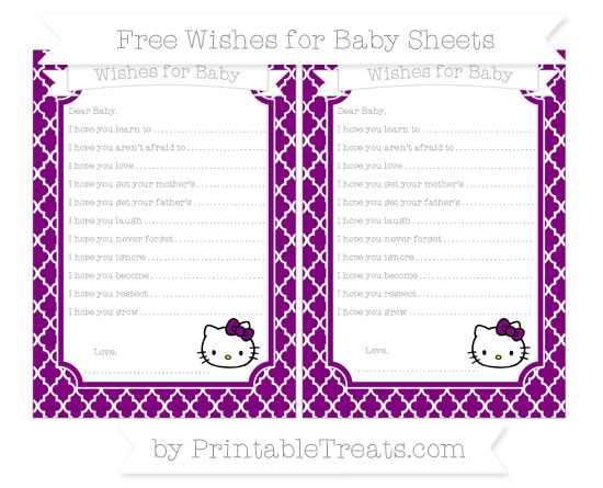 Free Purple Moroccan Tile Hello Kitty Wishes for Baby Sheets