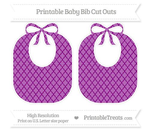 Free Purple Moroccan Tile Large Baby Bib Cut Outs