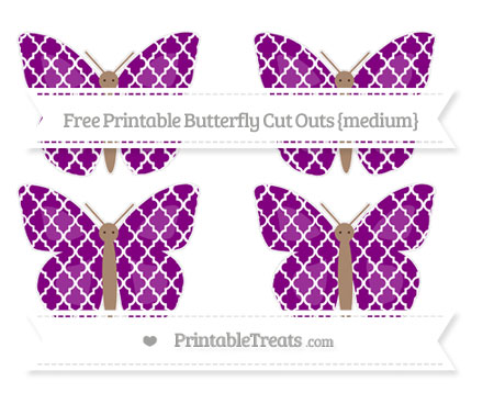 Free Purple Moroccan Tile Medium Butterfly Cut Outs
