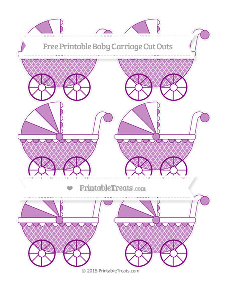 Free Purple Moroccan Tile Small Baby Carriage Cut Outs