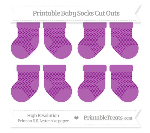 Free Purple Moroccan Tile Small Baby Socks Cut Outs