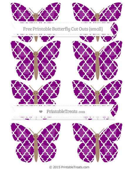 Free Purple Moroccan Tile Small Butterfly Cut Outs