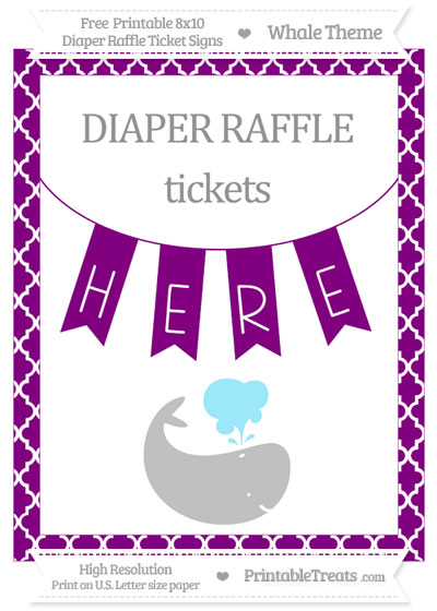 Free Purple Moroccan Tile Whale 8x10 Diaper Raffle Ticket Sign