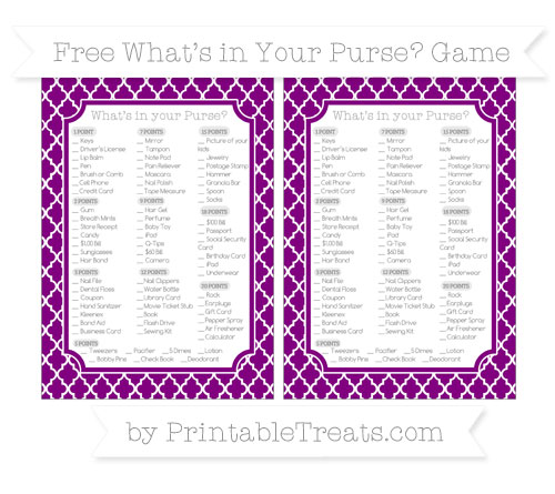 Free Purple Moroccan Tile What's in Your Purse Baby Shower Game