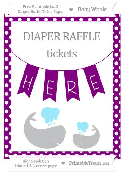 Free Purple Polka Dot Baby Whale 8x10 Diaper Raffle Ticket Sign