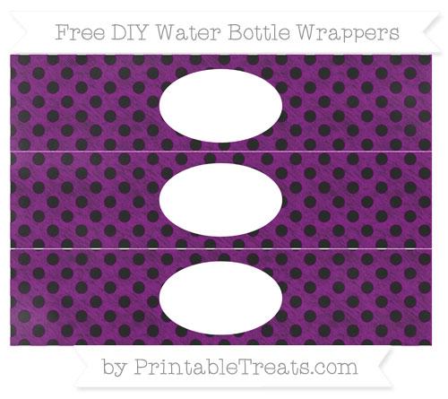 Free Purple Polka Dot Chalk Style DIY Water Bottle Wrappers