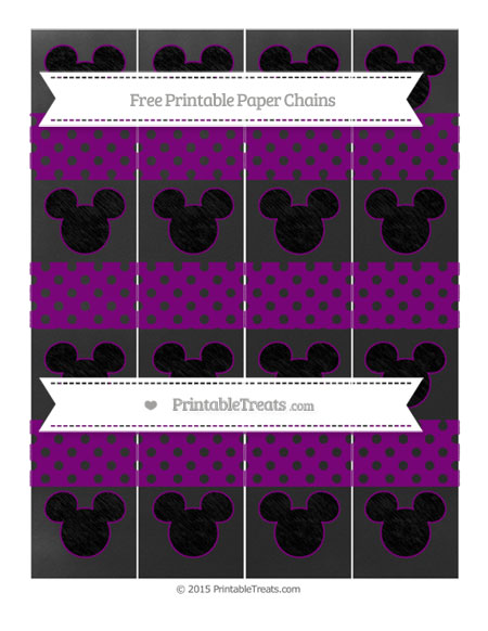Free Purple Polka Dot Chalk Style Mickey Mouse Paper Chains