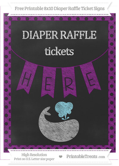 Free Purple Polka Dot Chalk Style Whale 8x10 Diaper Raffle Ticket Sign