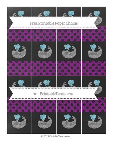Free Purple Polka Dot Chalk Style Whale Paper Chains