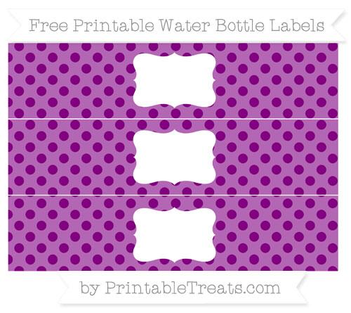 Free Purple Polka Dot Water Bottle Labels