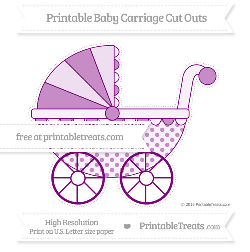 Free Purple Polka Dot Extra Large Baby Carriage Cut Outs