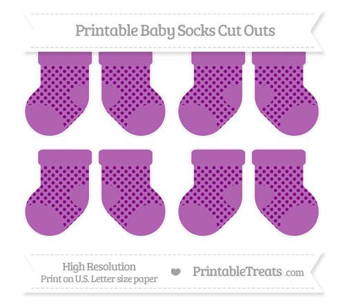 Free Purple Polka Dot Small Baby Socks Cut Outs