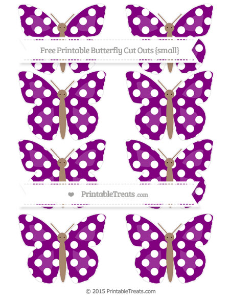 Free Purple Polka Dot Small Butterfly Cut Outs