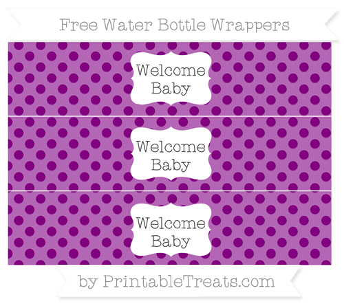 Free Purple Polka Dot Welcome Baby Water Bottle Wrappers