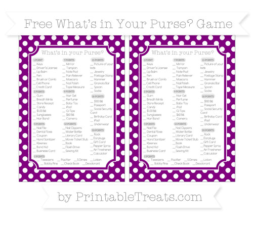 Free Purple Polka Dot What's in Your Purse Baby Shower Game