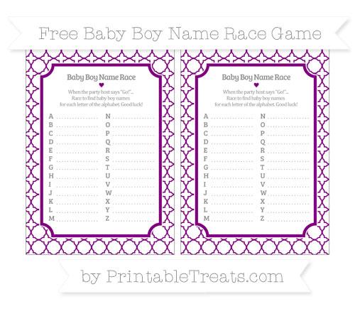 Free Purple Quatrefoil Pattern Baby Boy Name Race Game
