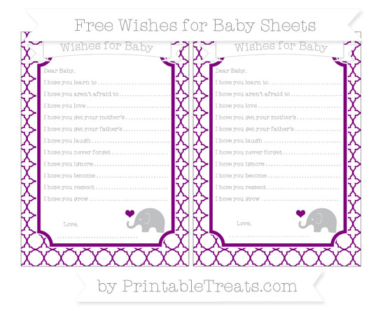 Free Purple Quatrefoil Pattern Baby Elephant Wishes for Baby Sheets