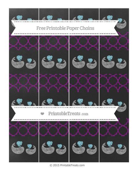 Free Purple Quatrefoil Pattern Chalk Style Baby Whale Paper Chains