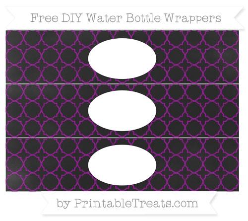 Free Purple Quatrefoil Pattern Chalk Style DIY Water Bottle Wrappers