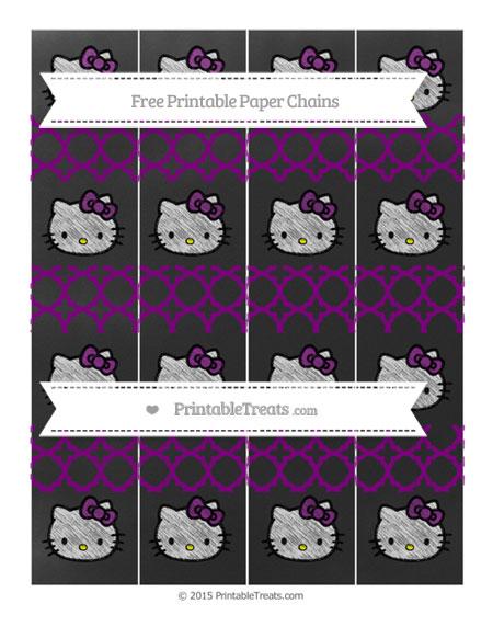 Free Purple Quatrefoil Pattern Chalk Style Hello Kitty Paper Chains