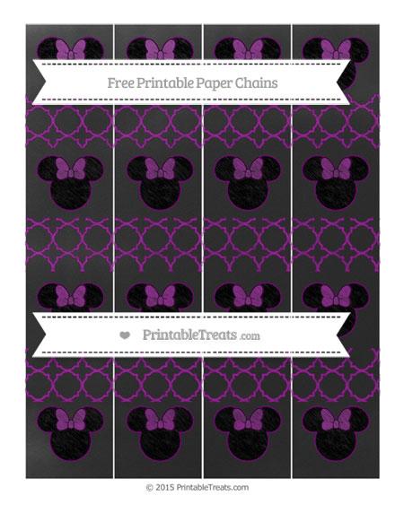 Free Purple Quatrefoil Pattern Chalk Style Minnie Mouse Paper Chains