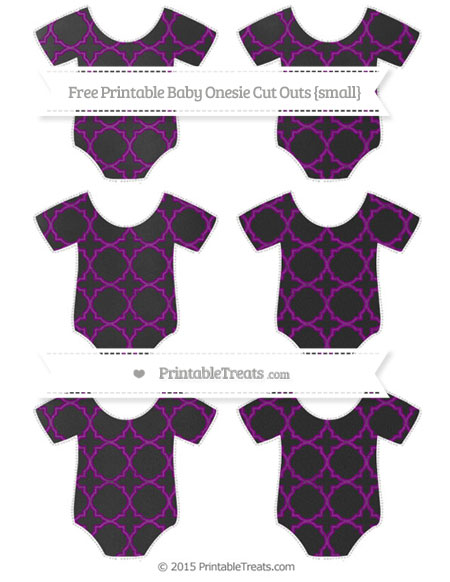 Free Purple Quatrefoil Pattern Chalk Style Small Baby Onesie Cut Outs