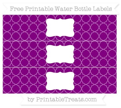 Free Purple Quatrefoil Pattern Water Bottle Labels