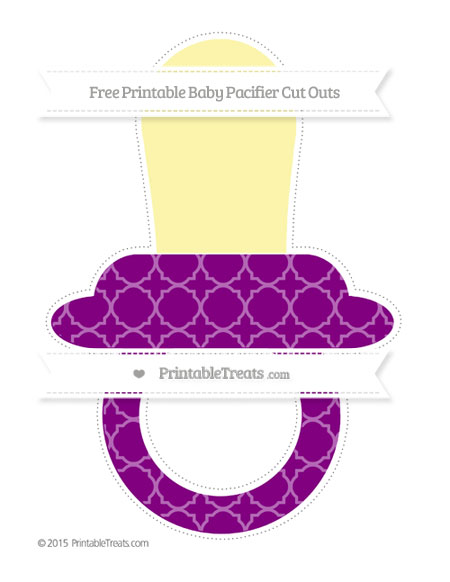 Free Purple Quatrefoil Pattern Extra Large Baby Pacifier Cut Outs