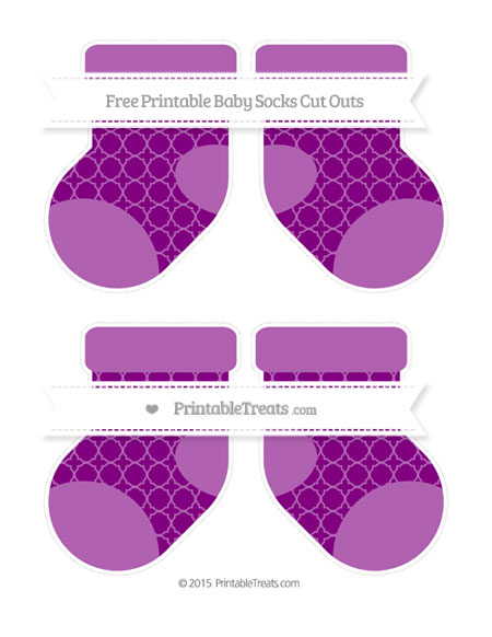 Free Purple Quatrefoil Pattern Medium Baby Socks Cut Outs