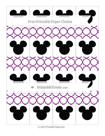 Free Purple Quatrefoil Pattern Mickey Mouse Paper Chains