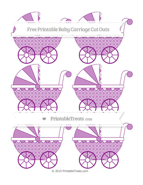 Free Purple Quatrefoil Pattern Small Baby Carriage Cut Outs