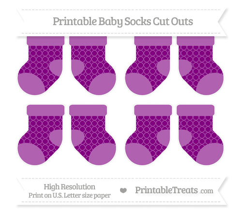 Free Purple Quatrefoil Pattern Small Baby Socks Cut Outs