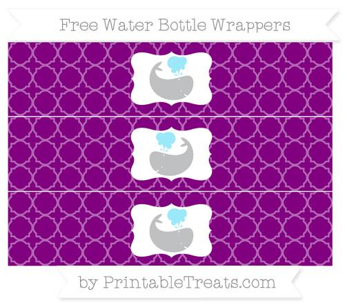 Free Purple Quatrefoil Pattern Whale Water Bottle Wrappers