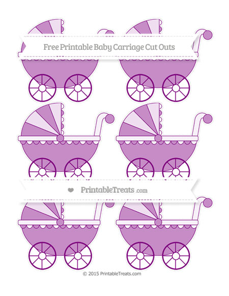 Free Purple Small Baby Carriage Cut Outs