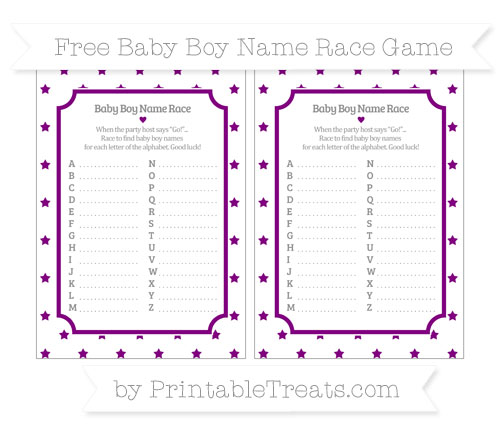 Free Purple Star Pattern Baby Boy Name Race Game