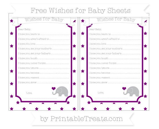 Free Purple Star Pattern Baby Elephant Wishes for Baby Sheets