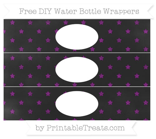 Free Purple Star Pattern Chalk Style DIY Water Bottle Wrappers