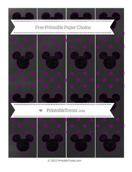 Free Purple Star Pattern Chalk Style Mickey Mouse Paper Chains