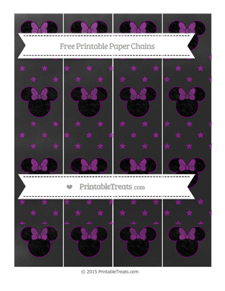 Free Purple Star Pattern Chalk Style Minnie Mouse Paper Chains