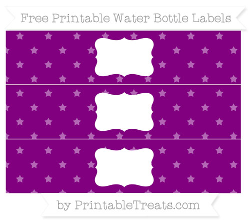 Free Purple Star Pattern Water Bottle Labels