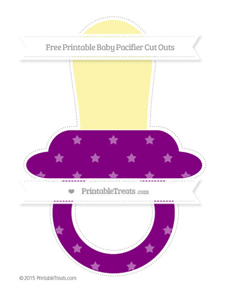 Free Purple Star Pattern Extra Large Baby Pacifier Cut Outs