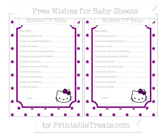 Free Purple Star Pattern Hello Kitty Wishes for Baby Sheets