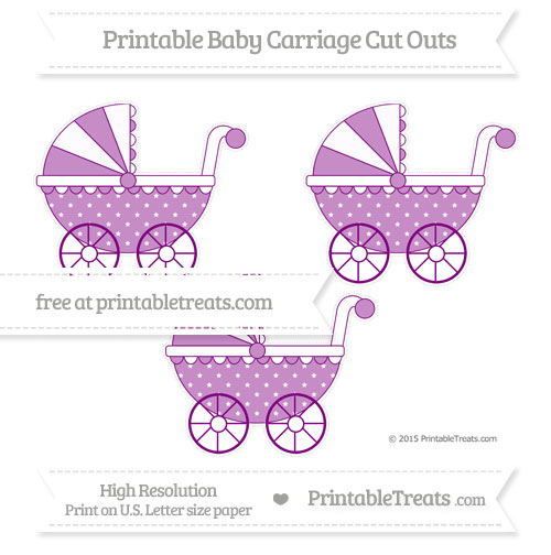 Free Purple Star Pattern Medium Baby Carriage Cut Outs