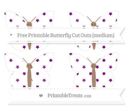 Free Purple Star Pattern Medium Butterfly Cut Outs