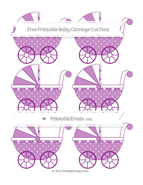 Free Purple Star Pattern Small Baby Carriage Cut Outs