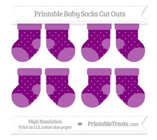 Free Purple Star Pattern Small Baby Socks Cut Outs