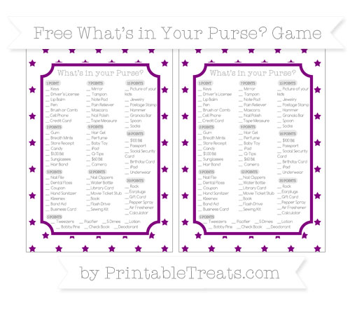 Free Purple Star Pattern What's in Your Purse Baby Shower Game