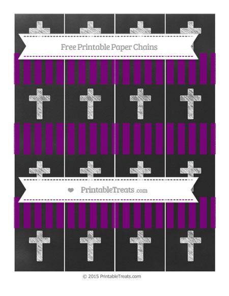 Free Purple Striped Chalk Style Cross Paper Chains
